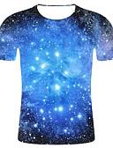 billige T-shirts og undertrøjer til herrer-Rund hals Herre - Galakse / 3D / Grafisk Bomuld, Trykt mønster 3D-tryk / Galakse Plusstørrelser T-shirt Blå XXL