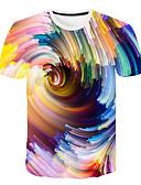 abordables Camisetas y Tops de Hombre-Hombre Talla EU / US Estampado Camiseta, Escote Redondo Bloques / 3D / Gráfico Arco Iris XXXXL