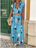 זול שמלות מקרית-צווארון V מקסי שמלה נדן רזה כותנה בגדי ריקוד נשים