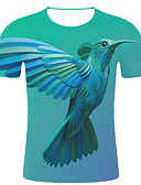 preiswerte Herren T-Shirts & Tank Tops-Herrn Gestreift / 3D / Tier - Street Schick / Übertrieben Übergrössen Baumwolle T-shirt, Rundhalsausschnitt Druck Grün XXL