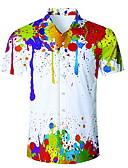 abordables Camisas de Hombre-Hombre Camisa Arco iris Blanco US36 / Manga Corta