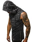 billige T-shirts og undertrøjer til herrer-Hætte Tynd Herre - camouflage Bomuld, Trykt mønster Tank Tops Grå XL