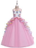 저렴한 어린이 & 어린이-아동 여아 빈티지 단 컬러 블럭 멀티 레이어 패치 워크 민소매 맥시 드레스 블러슁 핑크
