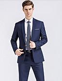 abordables Americanas y Trajes de Hombre-Hombre Tallas Grandes trajes, Un Color Solapa de Pico Poliéster Negro / Azul Real XXXL / XXXXL / XXXXXL / Delgado