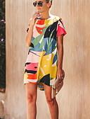 hesapli Mini Elbiseler-Kadın's Temel Kombinezon Elbise - Geometrik Diz üstü
