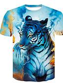 preiswerte Herren T-Shirts & Tank Tops-Herrn Tier EU- / US-Größe T-shirt, Rundhalsausschnitt Blau L