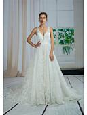 baratos Vestidos de Casamento-Linha A Decote V Cauda Capela Renda / Tule Vestidos de casamento feitos à medida com Miçangas / Apliques / Renda de ANGELAG