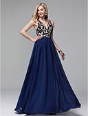 preiswerte Abendkleider-Eng anliegend V-Ausschnitt Boden-Länge Chiffon Abiball / Formeller Abend Kleid mit Stickerei durch TS Couture®