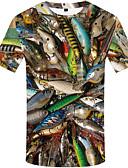 povoljno Muške majice i potkošulje-Veći konfekcijski brojevi Majica s rukavima Muškarci 3D / Životinja Okrugli izrez Print Duga