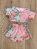 tanie Sukienki dla niemowląt-Dziecko Dla dziewczynek Podstawowy Nadruk Bez rękawów Krótkie Bawełna Komplet odzieży Rumiany róż / Brzdąc