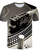 cheap Men's Tees & Tank Tops-Men's Daily Street Exaggerated Plus Size T-shirt - 3D Print Round Neck Light gray XXXXL / Short Sleeve