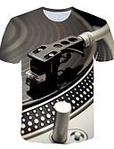 povoljno Muške majice i potkošulje-Veći konfekcijski brojevi Majica s rukavima Muškarci - pretjeran Dnevno / Ulica 3D / Grafika Okrugli izrez Print Svijetlosiva XXXXL / Kratkih rukava