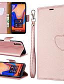 זול מגנים לטלפון-מגן עבור Samsung Galaxy Galaxy A7(2018) / Galaxy A10 (2019) / Galaxy A30 (2019) ארנק / מחזיק כרטיסים / עם מעמד כיסוי מלא אחיד קשיח עור PU