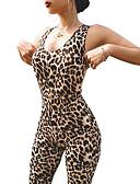 halpa Zentai-Naisten Sortsihaalari Workout Jumpsuit Urheilu Leopardi Kokopuku Jooga Fitness Activewear Kevyt Hengittävä Erittäin elastinen / Yhtenäinen väri