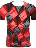 billige T-shirts og undertrøjer til herrer-Rund hals Herre - Geometrisk / 3D / Grafisk Bomuld, Trykt mønster Plusstørrelser T-shirt Rød XXL