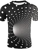 abordables Camisetas y Tops de Hombre-Hombre Camiseta, Escote Redondo 3D Negro XXL