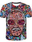 hesapli Erkek Tişörtleri ve Atletleri-Erkek Yuvarlak Yaka Tişört Desen, 3D / Portre Abartılı Büyük Bedenler Gökküşağı XXXXL / Kısa Kollu