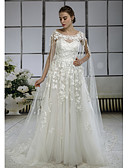 cheap Wedding Dresses-A-Line Bateau Neck Cathedral Train Lace / Tulle Made-To-Measure Wedding Dresses with Appliques / Lace by ANGELAG