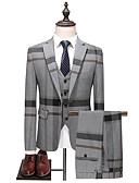 hesapli Takım Elbiseler-Erkek Suit, Zıt Renkli Çentik Yaka Polyester Koyu Mavi / Gri XL / XXL / XXXL