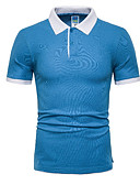 cheap Men's Tees & Tank Tops-Men's Daily Wear Polo - Solid Colored Shirt Collar Blue XL / Short Sleeve