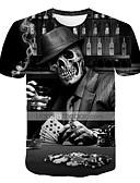 voordelige Heren T-shirts & tanktops-Heren overdreven Print Grote maten - T-shirt 3D / Doodskoppen Ronde hals Zwart XXXXL / Korte mouw
