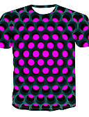 levne Pánská tílka-Pánské - Barevné bloky / 3D / Grafika Tričko, Tisk Kulatý Fialová XXXXL