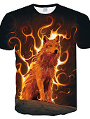 cheap Men's Tees & Tank Tops-Men's Plus Size Slim T-shirt - Color Block / 3D / Animal Print Round Neck Black XXL
