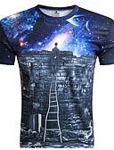 זול טישרטים לגופיות לגברים-גלקסיה / 3D צווארון עגול רזה מידות גדולות טישרט - בגדי ריקוד גברים דפוס פול