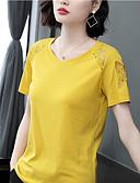 billige T-skjorter til damer-Bomull T-skjorte Dame - Ensfarget, Blonde / Lapper Elegant Svart XL