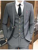 preiswerte Anzüge-Grau / Rot / Königsblau Solide Schlanke Passform Polyester Anzug - Fallendes Revers Einreiher - 1 Knopf