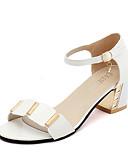 hesapli Gece Elbiseleri-Kadın's Ayakkabı PU Yaz Sandaletler Kalın Topuk Ofis ve Kariyer için Beyaz / Siyah