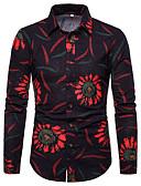 זול חליפות-גיאומטרי / גלקסיה בוהו Party פשתן, חולצה - בגדי ריקוד גברים דפוס שחור / שרוול ארוך