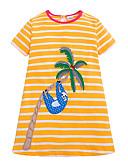 זול ילדים כובעים ומצחיות-שמלה עד הברך שרוולים קצרים פסים / חיה מתוק / סגנון חמוד בנות ילדים / פעוטות / כותנה