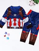 povoljno Kompletići za dječake-Djeca Dječaci Ulični šik Print Dugih rukava Pamuk Komplet odjeće Plava