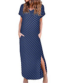 hesapli Maksi Elbiseler-Kadın's Sokak Şıklığı Zarif A Şekilli Kılıf Elbise - Yuvarlak Noktalı, Bölünmüş Maksi