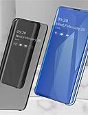 זול מגנים לטלפון-מגן עבור Samsung Galaxy גלקסי S10 / גלקסי S10 פלוס / Galaxy S10 E עם מעמד / ציפוי / מראה כיסוי מלא אחיד קשיח עור PU