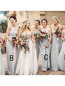 זול שמלות שושבינה-גזרת A עם תכשיטים / קולר עד הריצפה שיפון שמלה לשושבינה  עם סלסולים על ידי JUDY&JULIA