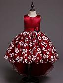 זול שמלות לילדות פרחים-נסיכה א-סימטרי שמלה לנערת הפרחים  - כותנה / סאטן / טול ללא שרוולים עם תכשיטים עם אפליקציות / דוגמא \ הדפס / חגורה על ידי LAN TING Express