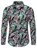 זול חולצות לגברים-פרחוני / גראפי / שבטי צווארון קלאסי מוּגזָם מועדונים חולצה - בגדי ריקוד גברים דפוס תלתן / שרוול ארוך
