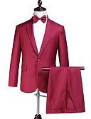 זול חליפות לנושאי הטבעת-בורגנדי אחיד גזרה מחוייטת פוליאסטר חליפה - פתוח Single Breasted One-button