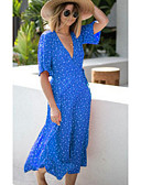 hesapli Print Dresses-Kadın's Sokak Şıklığı Kombinezon Elbise - Yuvarlak Noktalı Midi