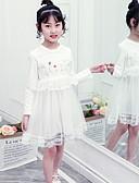 זול שמלות לילדות פרחים-גזרת A באורך  הברך שמלה לנערת הפרחים  - תחרה שרוול ארוך עם תכשיטים עם ריקמה / תחרה על ידי LAN TING Express