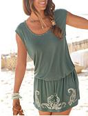 hesapli Mini Elbiseler-Kadın's Temel Plaj Tarzı Kombinezon Elbise - Solid Mini