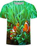 abordables T-shirts & Débardeurs Homme-Tee-shirt Homme, 3D Imprimé Basique Vert US36