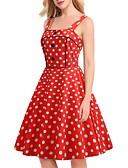 halpa Vintage-kuningatar-Naisten Vintage A-linja Mekko - Polka Dot, Patchwork Painettu Polvipituinen
