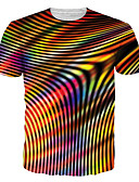cheap Men's Tees & Tank Tops-Men's Going out Casual / Daily Rock / Punk & Gothic T-shirt - Geometric / 3D / Graphic Print Black XXXXL