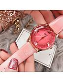 זול שעונים-בגדי ריקוד נשים שעון מכני קווארץ עור אמיתי עמיד במים אנלוגי אופנתי - אדום כחול ורוד / מתכת אל חלד