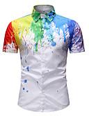 cheap Men's Shirts-Men's Daily Wear Casual / Daily Basic Shirt - Tie-Dye White XXL