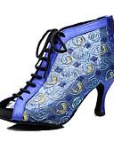 זול שעונים-בגדי ריקוד נשים נעלי ריקוד רשת נעליים לטיניות עקבים עקב קובני מותאם אישית שחור / כחול / הצגה / עור / אימון