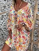 povoljno Print Dresses-Žene Tunika Haljina - Naborano Kolaž Print, Cvjetni print Duga Voće Iznad koljena